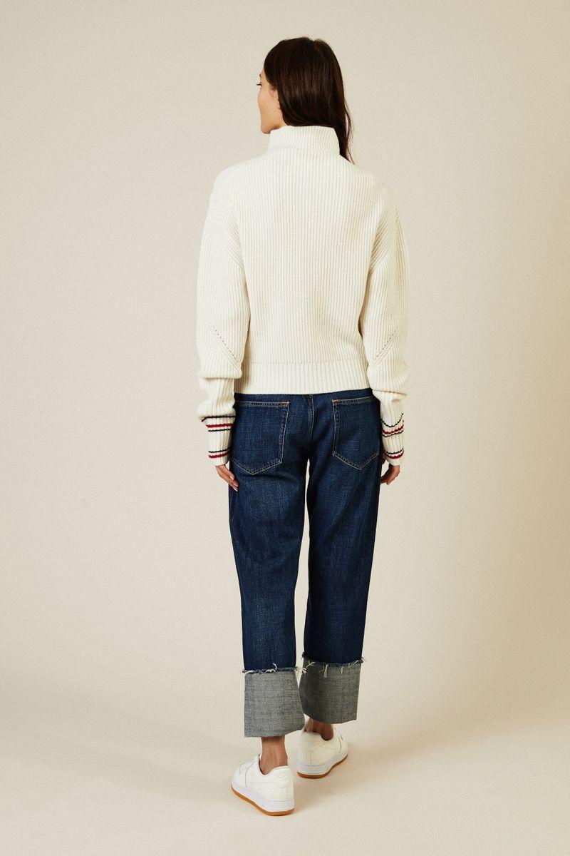 Woll-Cashmere-Pullover Écru/Rot/Blau