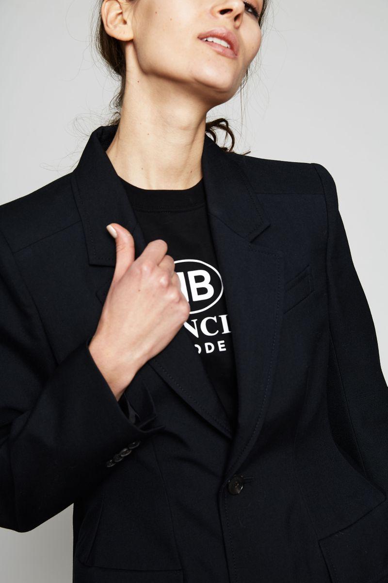 Taillierter Wollblazer Schwarz