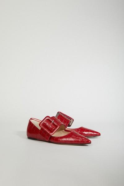 Flats 'Anita' mit Kroko-Prägung Rot