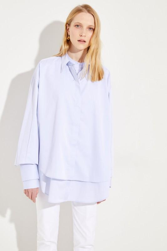 Oversize Baumwoll-Bluse Hellblau