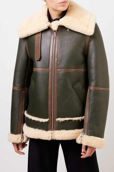 Acne Studios Lammfelljacke im Pilotenstil Hunter Green