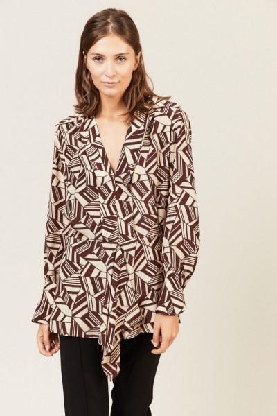 Seiden-Bluse mit geometrischem Print Braun/Beige