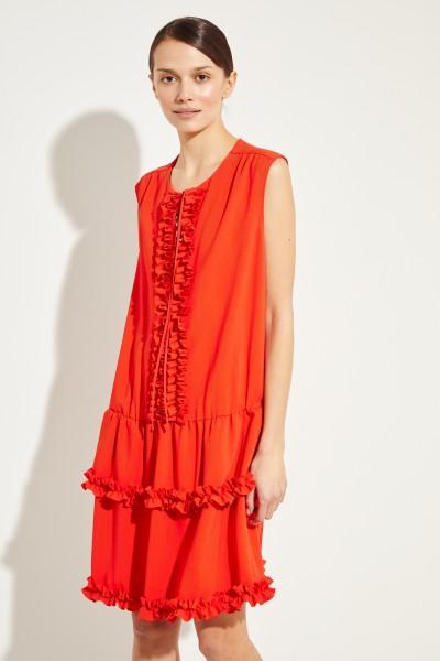 Kurzes Kleid mit Rüschen Rot