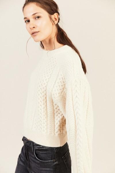 Woll-Alpaca-Pullover Crémeweiß