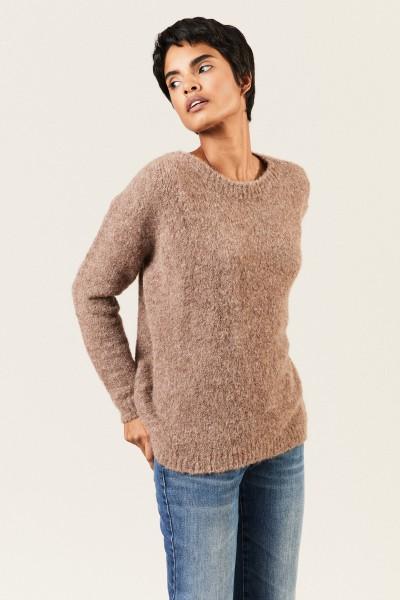 Oversize Alpaca-Pullover Braun