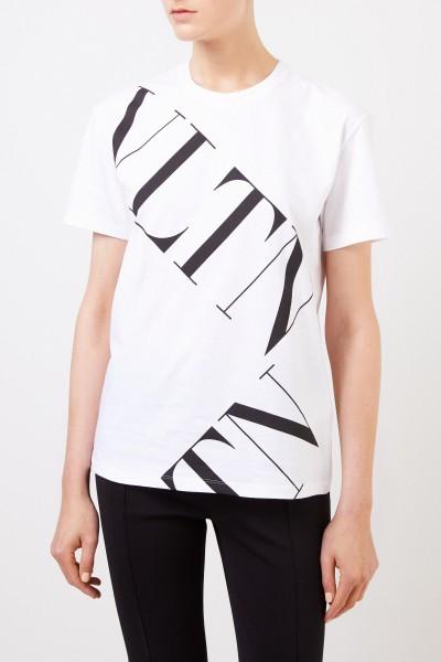 Valentino T-Shirt mit Logo-Aufdruck Weiß/Schwarz