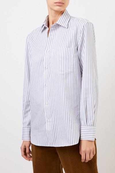Aspesi Gestreifte Baumwoll-Bluse Blau/Weiß