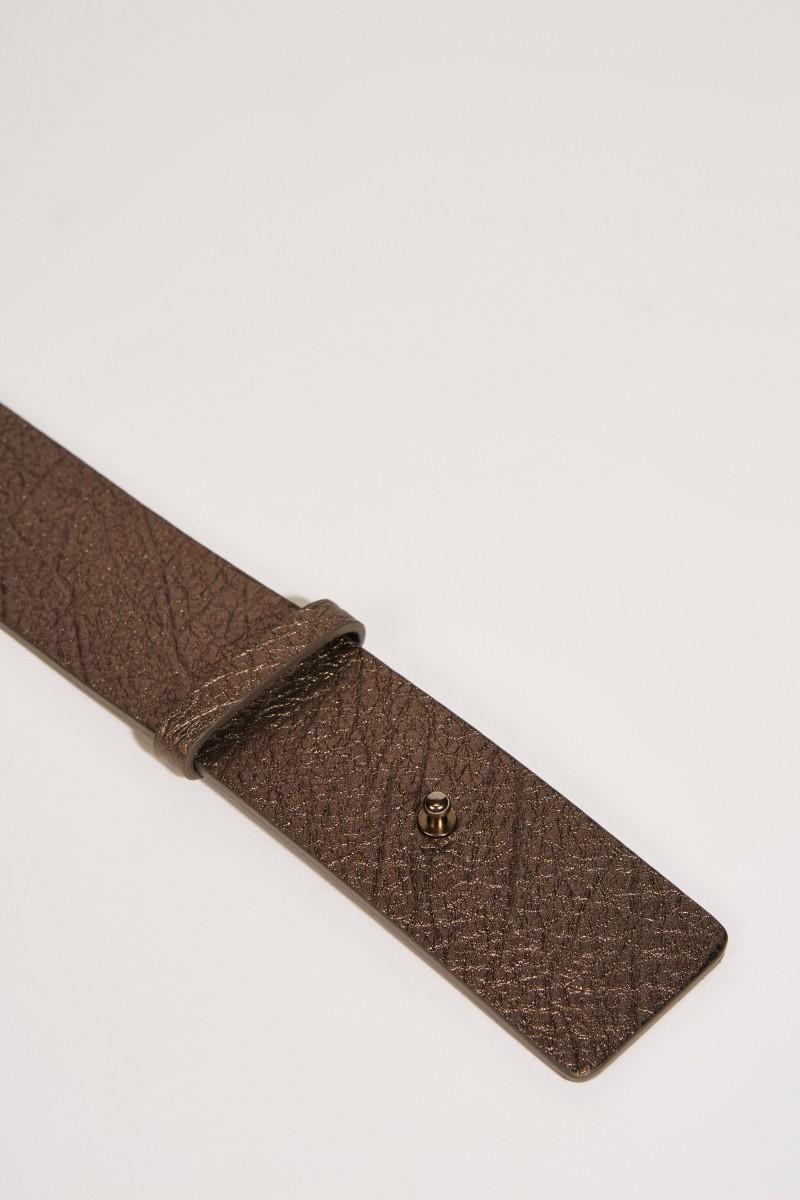 Leder-Gürtel mit Perlenverzierung Bronze