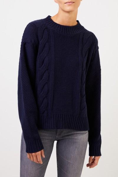 Uzwei Woll-Cashmere-Pullover mit Zopfmuster Marineblau