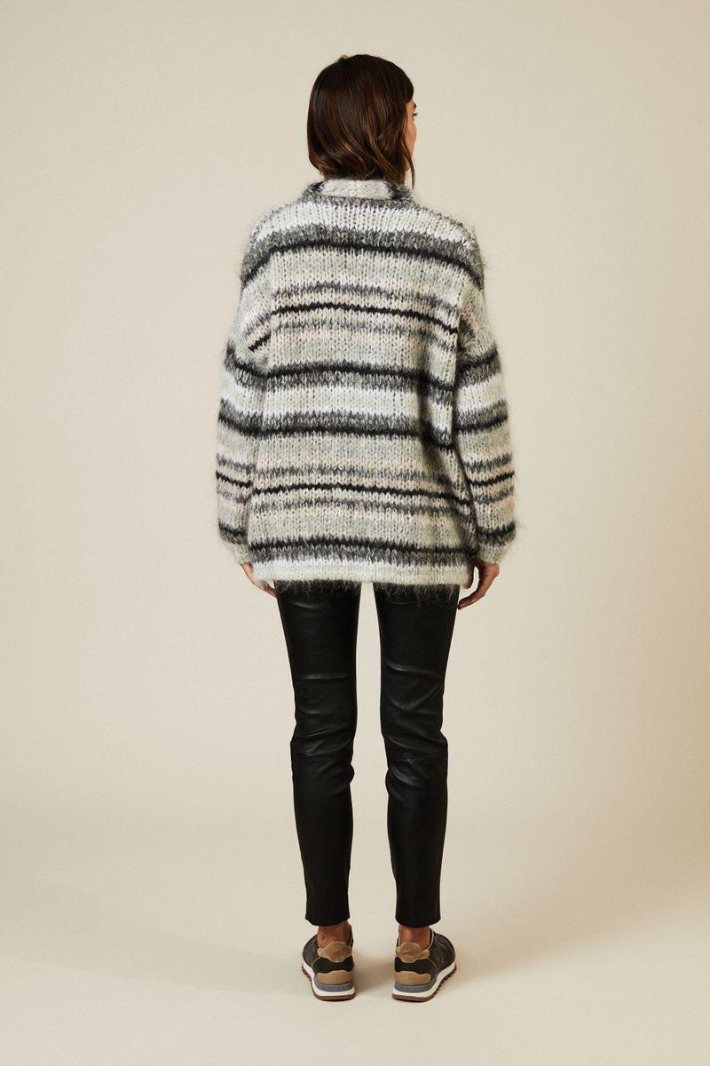 Oversize Mohair-Cardigan Grau/Multi