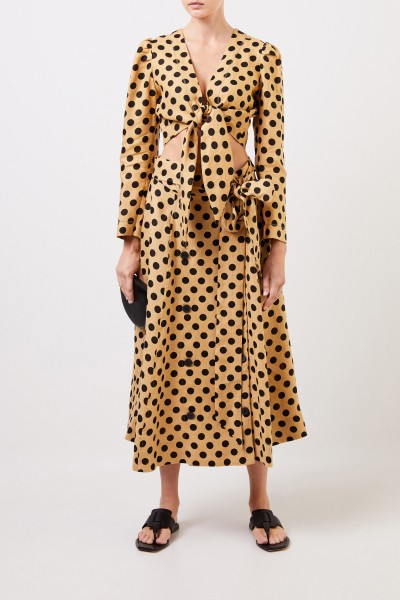 Midi linen skirt with dots Brown/Black