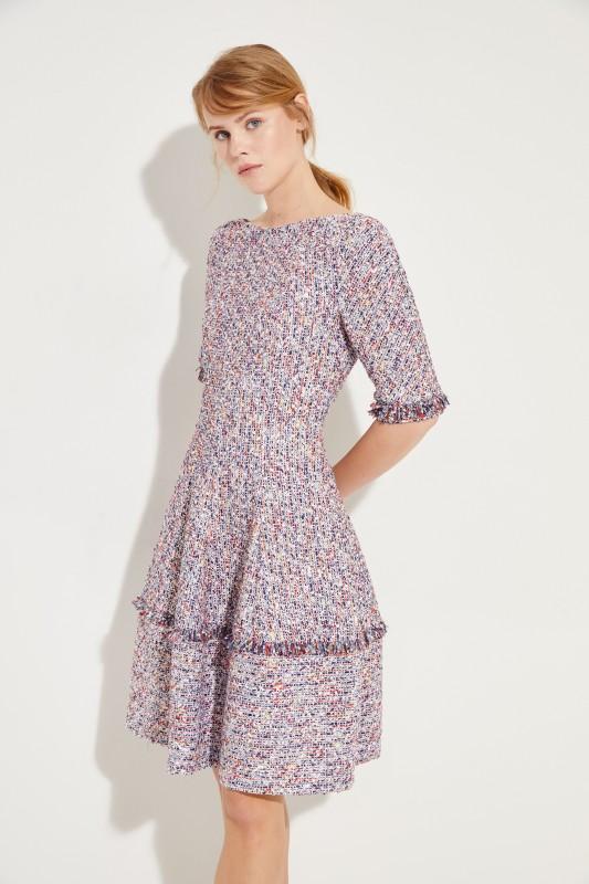 Talbot Runhof Tweed-Kleid mit Fransen Blau/Multi