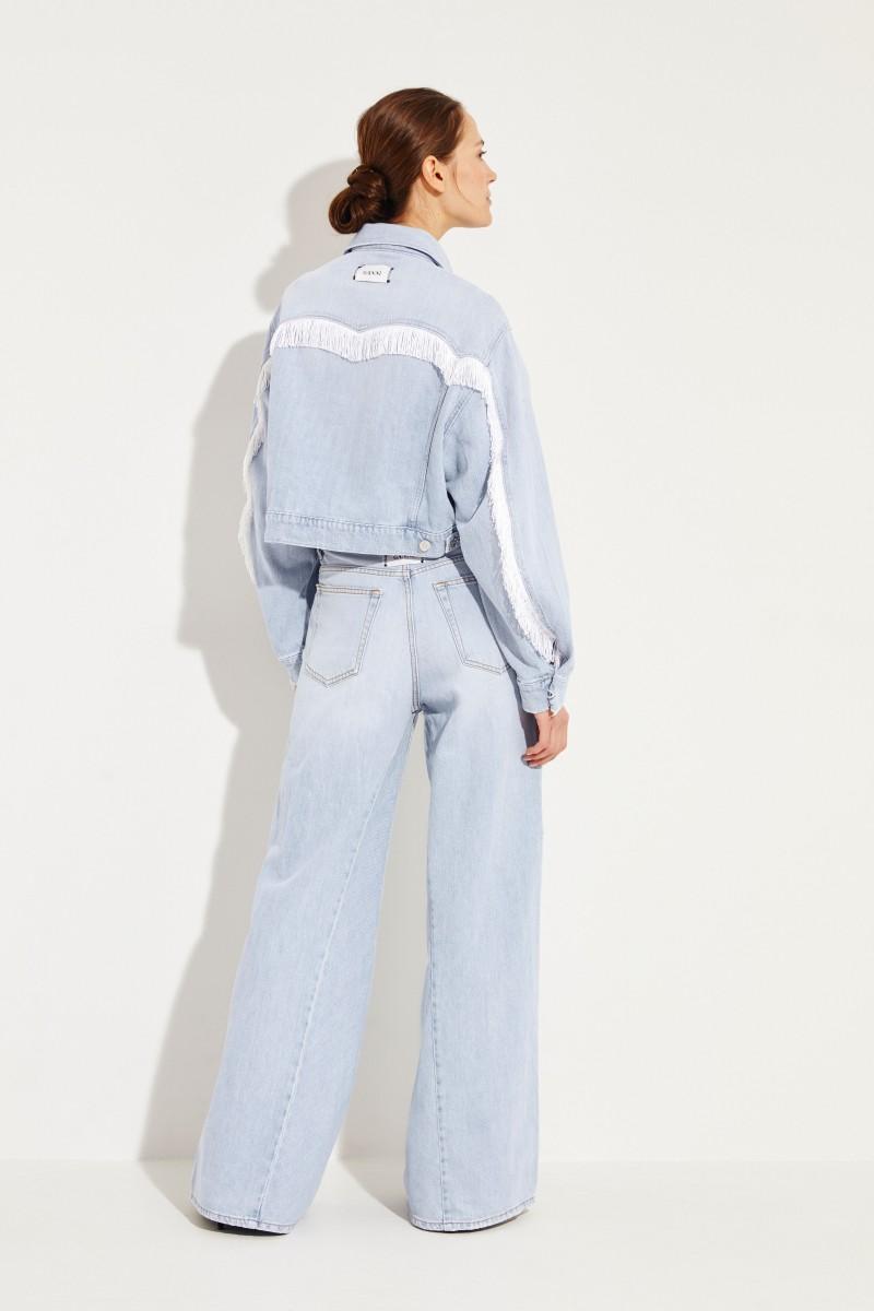Cropped jacket with fringes Light blue