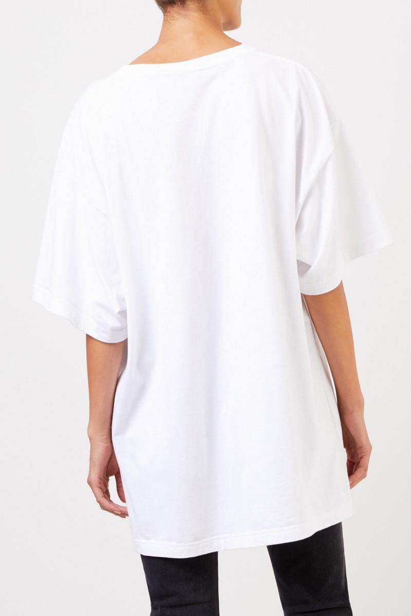 Balenciaga T-Shirt mit Logo-Schriftzug Weiß/Rot