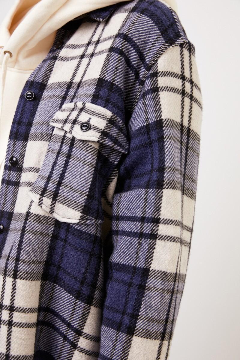 Woolrich Kariertes Hemd ' Explorer' mit Fransen Blau/Multi