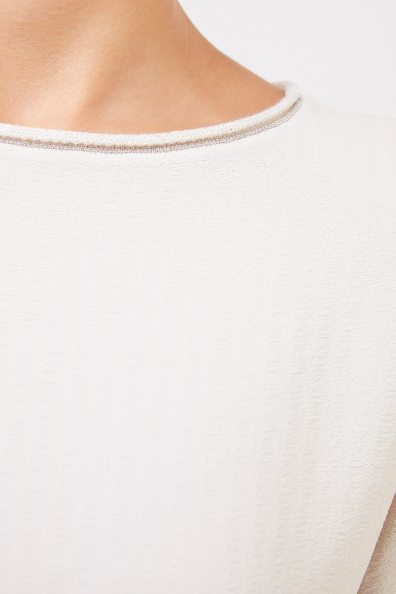 Fabiana Filippi Bluse mit Perlenverzierung Beige