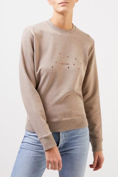 Saint Laurent Sweatshirt mit Logo-Aufdruck Taupe