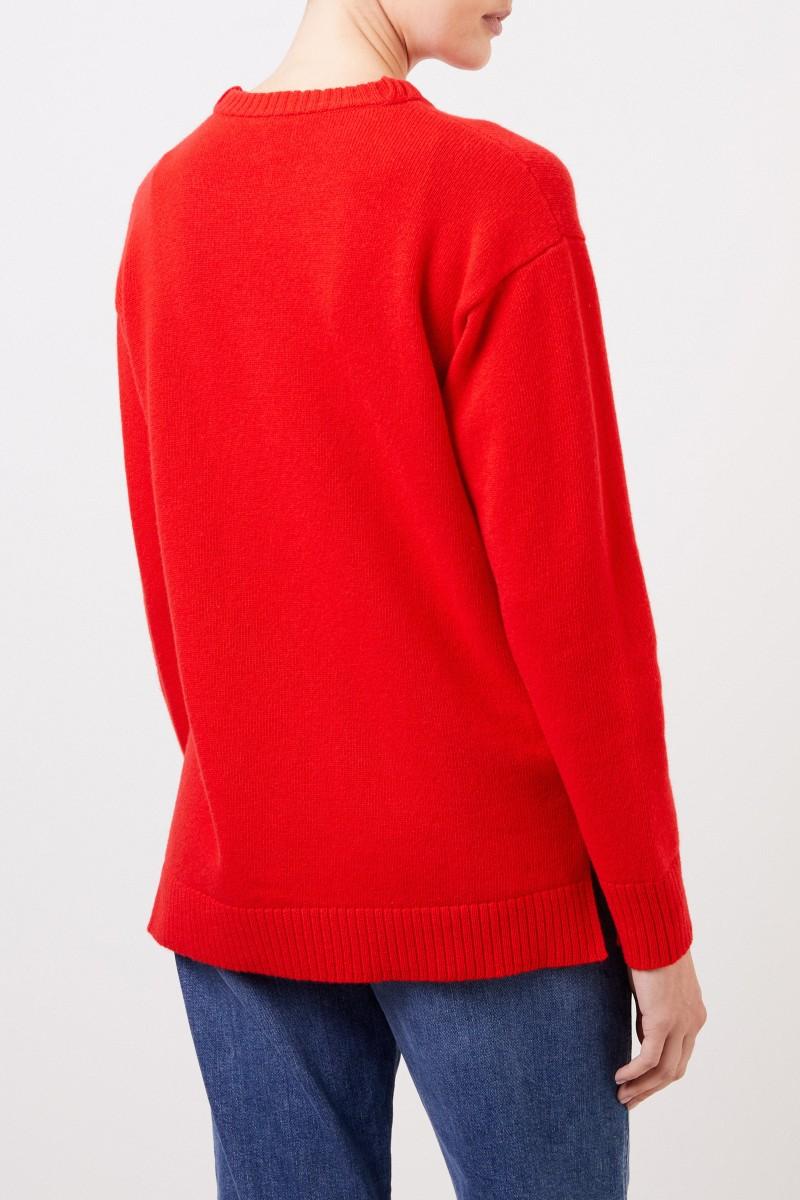 Woll-Pullover mit Logo-Stickerei Rot