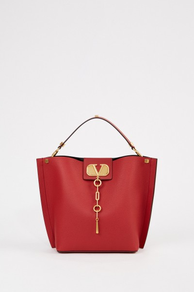 Leather shopper with pouchette Red
