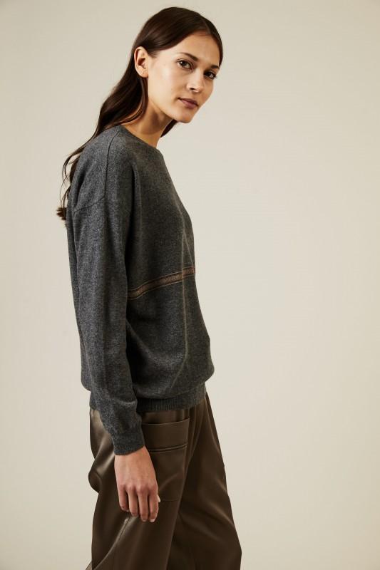 Cashmere Pullover mit Perlendetails Grau