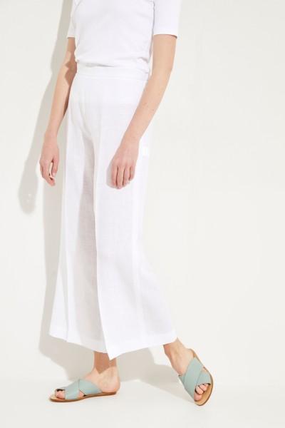 Weite Leinen-Hose Weiß