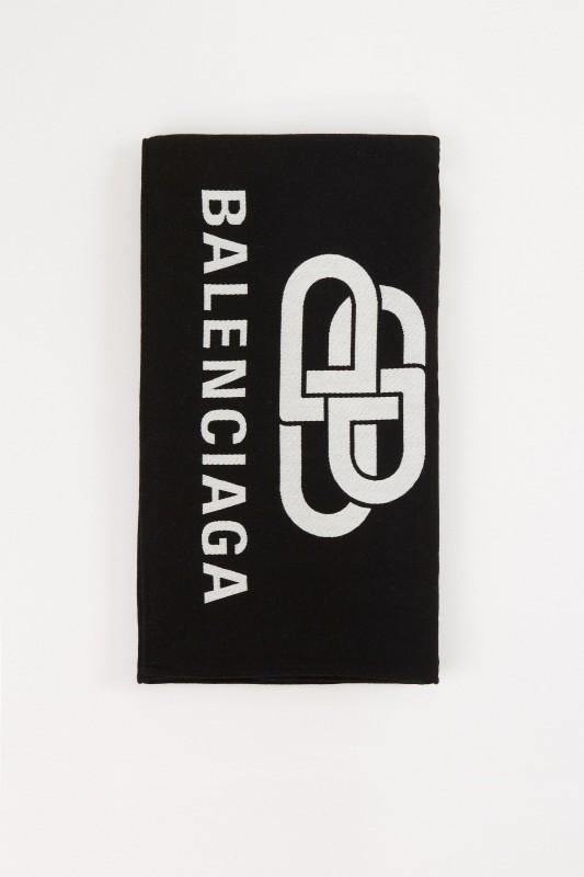 Balenciaga Woll-Schal mit Logo Schwarz/Weiß