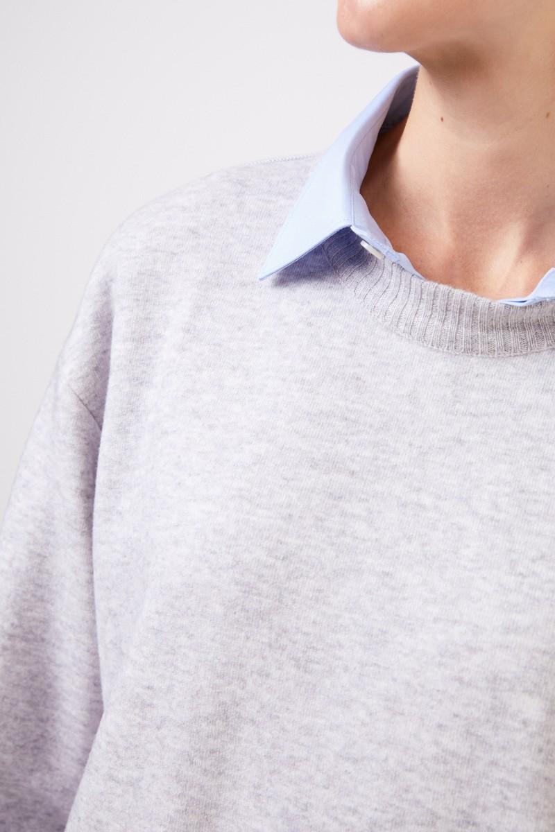 Agnona Klassischer Cashmere-Pullover Hellgrau