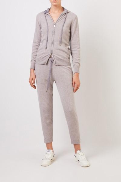 Cashmere-Hose mit umgeschlagenen Saumkanten Grau