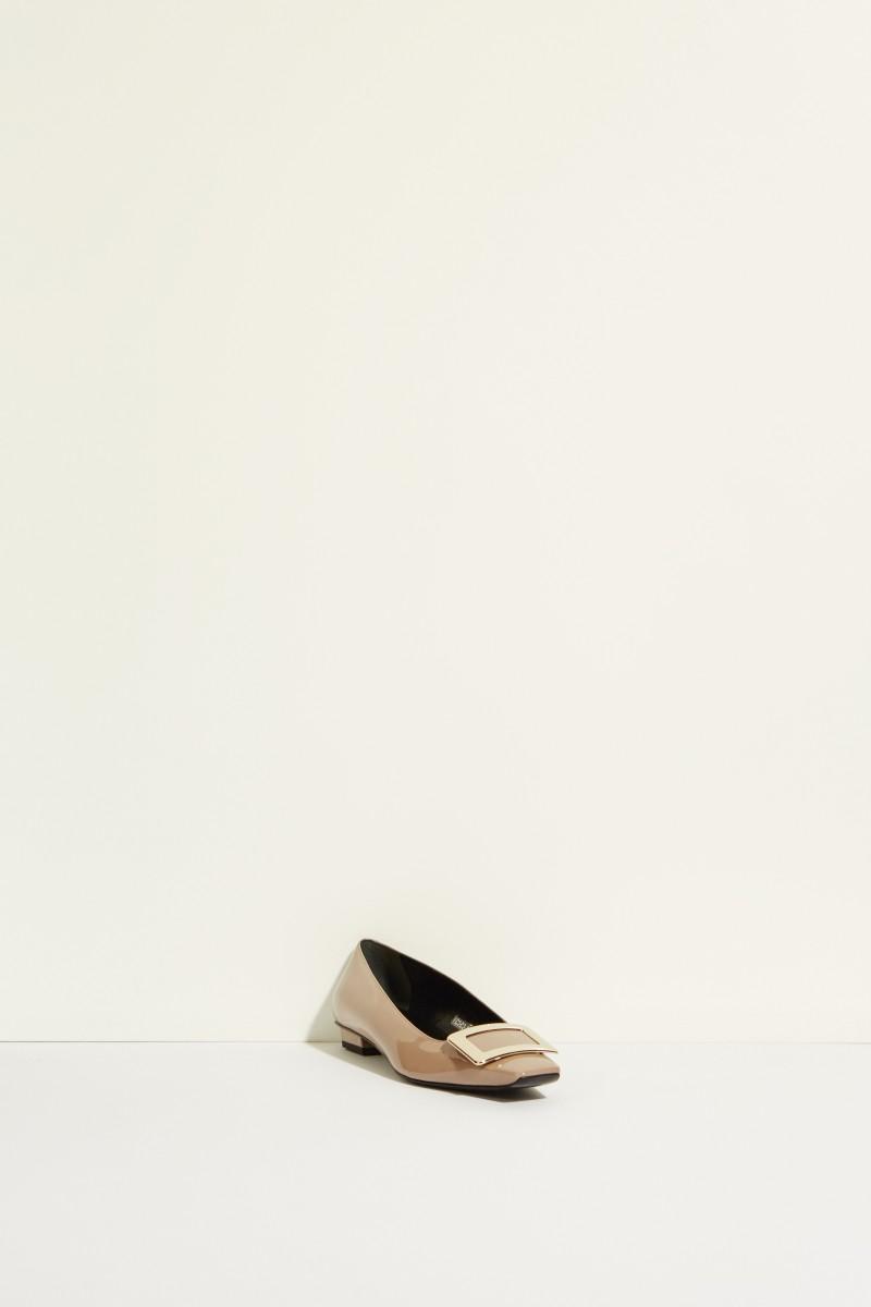 Lackleder-Flat 'Belle Vivier' mit Schnalle Taupe
