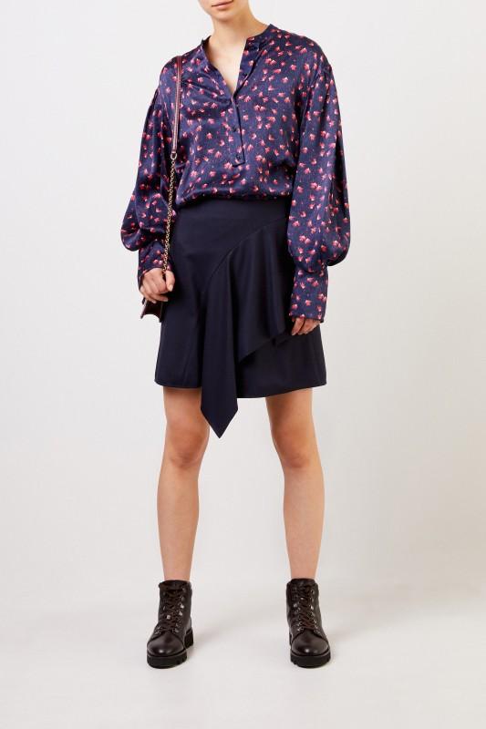 Chloé Seidenbluse mit Print Blau/Pink