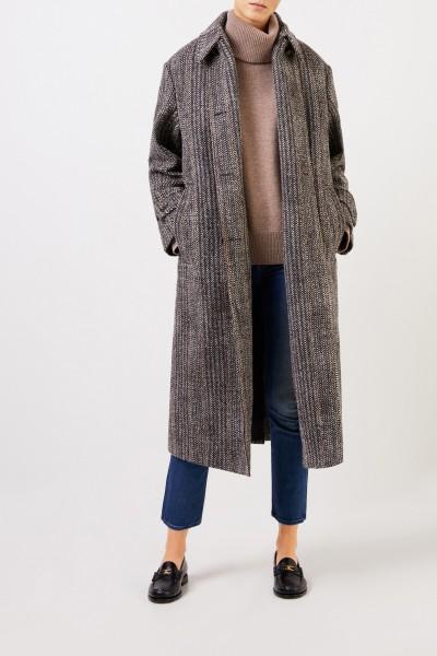 Stella McCartney Long wool-coat with herringbone pattern Multi