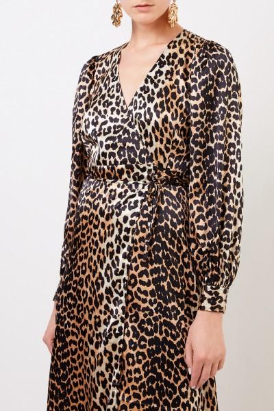 Ganni Silk wrap dress with leoprint Multi