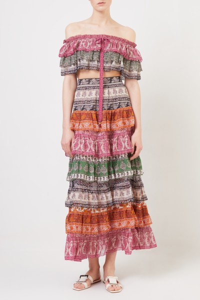 Cotton-silk skirt with print Multi