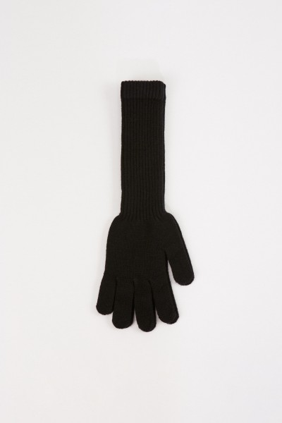 Uzwei Long wool cashmere gloves Black
