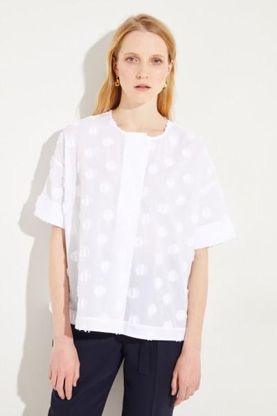 Gepunktete Baumwollbluse Weiß