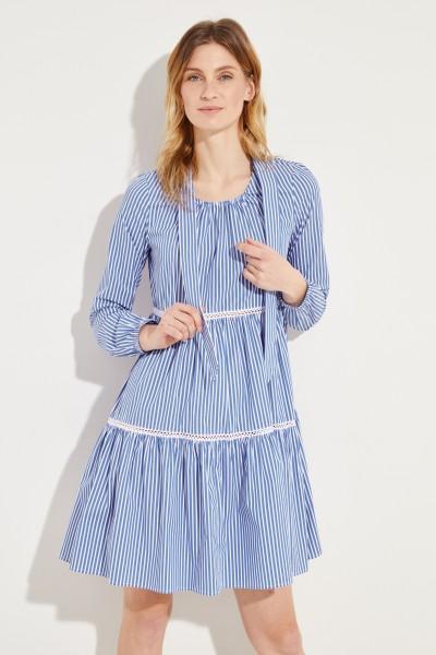Gestreiftes Kleid mit Stickdetails Blau/Weiß