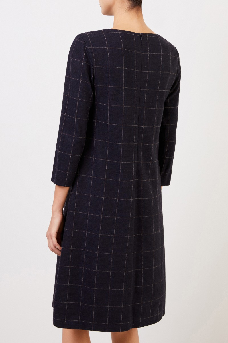 Cappellini Classic wool dress with checked pattern Blue/Cream