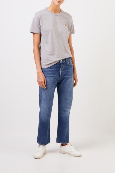 Maison Kitsuné T-Shirt 'Fox Head Patch' Hellgrau