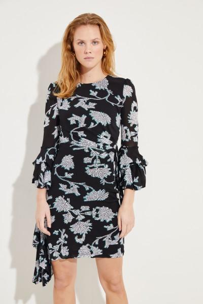 Kleid 'Faridah' mit Wickeldetail Schwarz/Multi