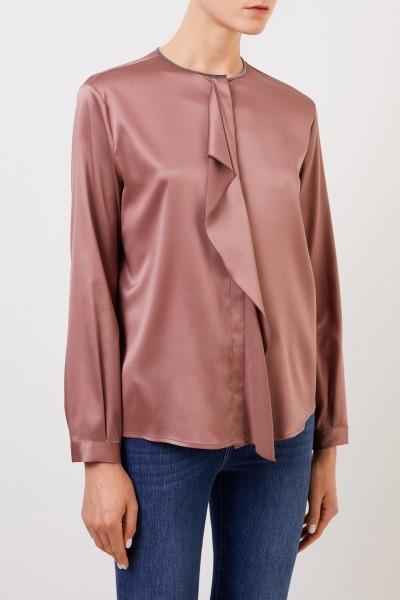 Fabiana Filippi Silk blouse with pearl decoration Rosewood