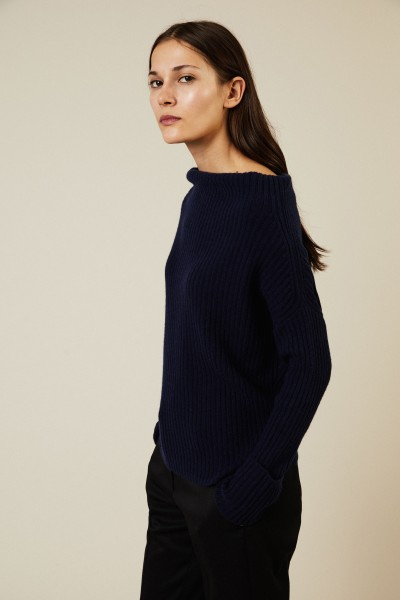 Cashmere-Pullover mit U-Boot-Ausschnitt Marineblau