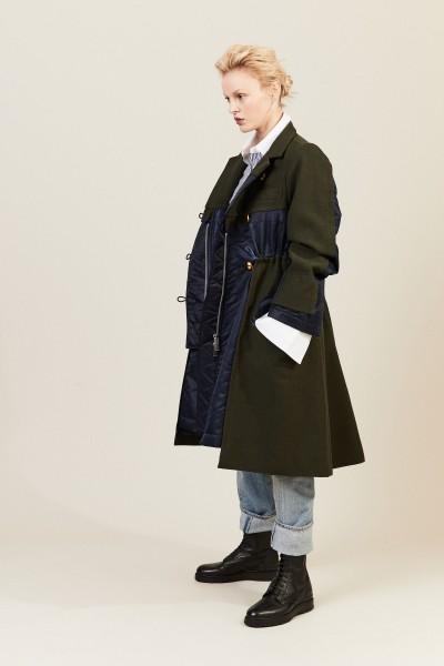 Ausgestellter Wollmantel Khaki/Marineblau