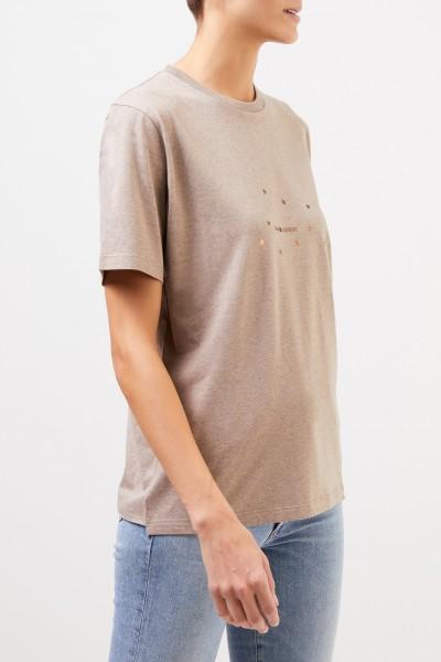 Saint Laurent Baumwoll-Shirt mit Logo Taupe