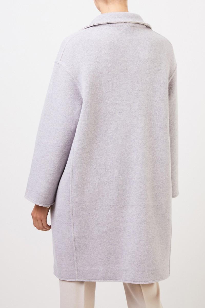 Klassischer Woll-Mantel Hellgrau
