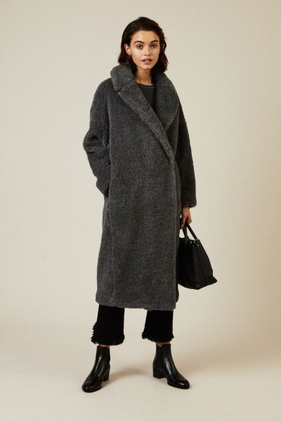 Oversize Alpaca-Wollmantel Grau