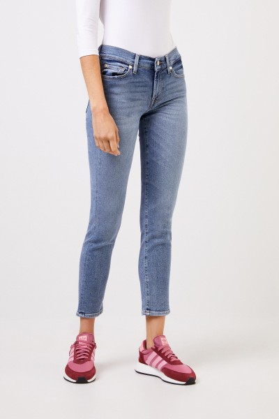 7 for all mankind Midrise-Jeans 'Roxaenne Crop' Hellblau