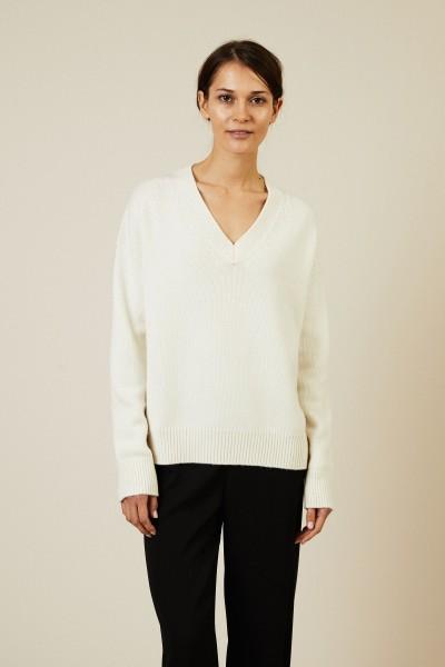 Oversize V-Neck Pullover Écru