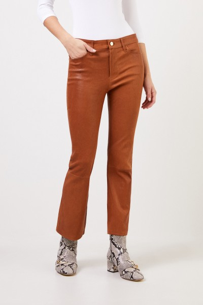 Frame Bootcut leather pants 'Le Crop Mini Boot' Brown