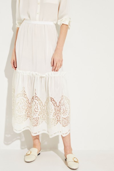 Silk skirt with embroidery Cream