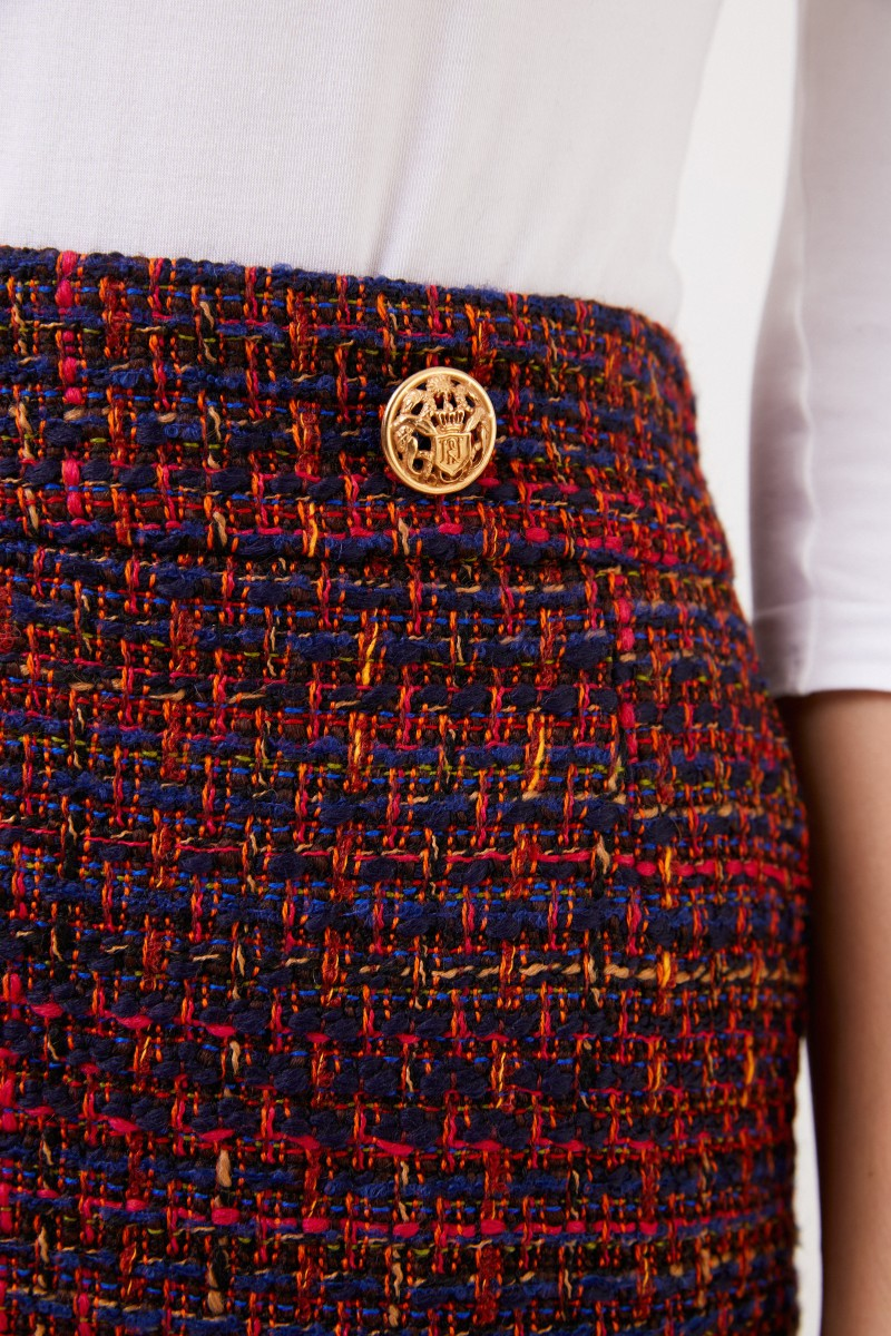 NUSCO 2107 Woll-Tweed Rock Rot/Marineblau